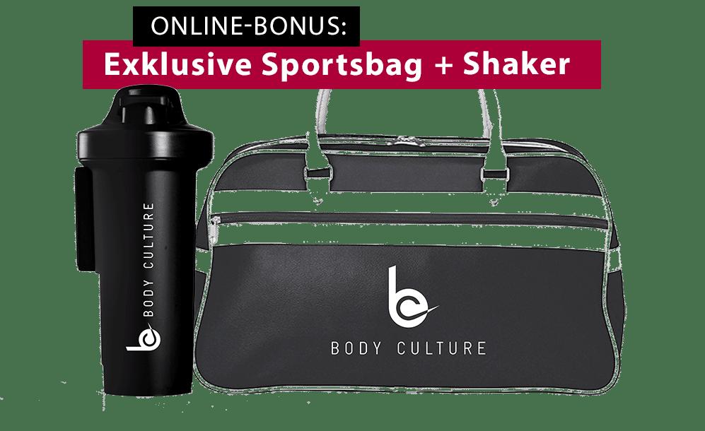Als Online-Bonus eine exklusive Sportsbag und Shaker erhalten